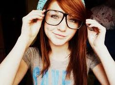 Girl With Glasses Long Red Hair Hat