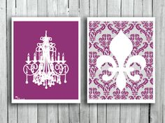 French Wall decor Home Chandelier Silhouette art print Plum and White Fleur de lis Wall hanging Teen Girls room decor Gift for her on Etsy, $19.40 CAD