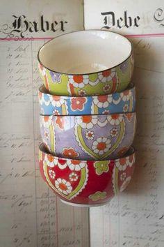 Colorful Hand Painted Ceramic Lotus Bowls