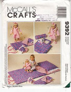 Slumber Party Accessories Child 18 Inch Doll McCalls Sewing Pattern 9392 Uncut