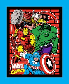 Marvel Comics Retro Fabric Panel Large Comic Superheroes Avenger Fabrics
