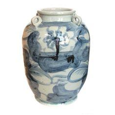 Ginger Pot Country Side Round Handle - Porcelain pot with blue glazed detailing