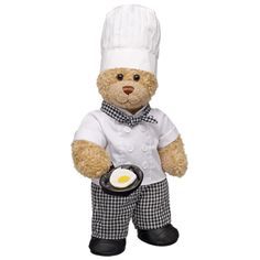 Chef Curly Teddy - Build-A-Bear Workshop Teddy Bear Clothes, Bear Party, Build A Bear, Big Bear, Cute Images, Cool Toys, Stuffed Toys Patterns, Chef Costume, Beautiful Unicorn
