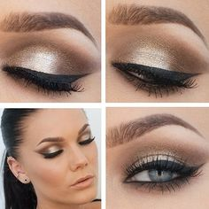 Mmmmmm love this! Reminds me of what I did on Eva! Creamy metallic and neutral matte eyeshadow, black winged eye liner and false lashes - beautiful event or bridal makeup