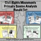This bundled set includes 8-pages of handouts providing an assortment of quotes and images for students to analyze with guiding questions for a better understanding of the Civil Rights Movement and the Era of the 60s & 70s. Includes a wrap-up question on each in which students make comparisons to our modern America. Primary Source Analysis Worksheet Topics: Leading to the Civil Rights Movement Civil Rights Movement in Action Civil Rights Movement Legislation Protest Movements of the 60s…