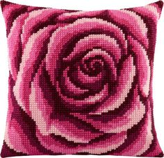 You can also buy backing fabric to create a complete pillow cover. Bargello Patterns, Perler Patterns, Ribbon Embroidery, Cross Stitch Embroidery, Cross Stitch Designs, Cross Stitch Patterns, Broderie Bargello, Kit Rose, Cross Stitch Cushion