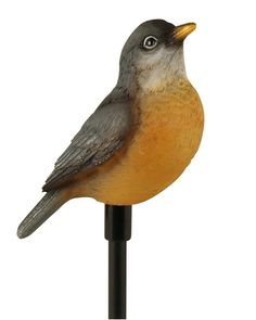 Celebrate the birds of North America with these Woods Moonrays Solar Stakes from Central! They stand 30.31'' above ground height and have a white LED light with a rechargeable battery (included). Choose from 1 of 8 bird species (Robin shown here) and celebrate the birds in your garden! Backyard Birds, Bird Species, Robin, North America, Woods, Solar, Led, Garden, Garten