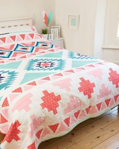 Modern Aztec quilt by Cristina Tepsick for Love Patchwork & Quilting issue 21. Similar design, different colors.