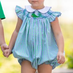 The Girls Nantucket Whale Bishop Bubble sweet style for girls in blue and green gingham features custom whale smocking and a classic collar with blue picot trim. Team Gifts, Whale Watching, Sweet Style, Nantucket, Smocking, Gingham, Boy Or Girl, Bubbles, Rompers