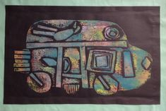 Collagraph print in rainbow ink, from Ocean Air elementary school.