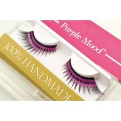 Black False Eyelashes with 2 purple strips print