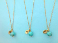 Set of 5-10 Turquoise Bead Initial Necklace by giftjewelryshop