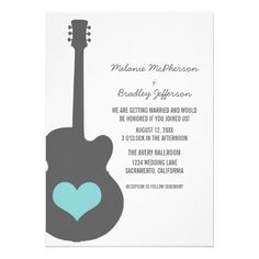 Discover sublime Guitar wedding invitations & announcements for your big day. Guitar Wedding, Wedding Music, Red Wedding, Chic Wedding, Spring Wedding, Wedding Reception, Wedding Ideas, Heart Wedding Invitations, Wedding Wishes