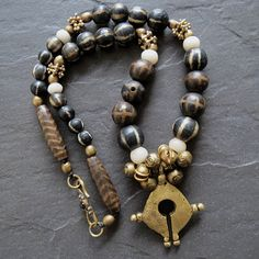Pumtek Bead Necklace with Indonesian Tribal Brass by GEMILAJewels