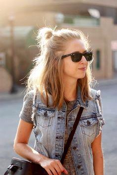 18 Le Fashion Blog 20 Inspiring Half Up Top Knot Hairstyles Blonde Hair Long Bob Bun Via Zipped