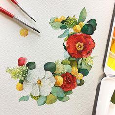 가끔... 내가 뭘 그리고 있나??? 싶을 때가 있다 . . #그게 #바로 #지금이순간 Small Paintings, Colorful Paintings, Colorful Drawings, Wreath Watercolor, Watercolor And Ink, Watercolor Flowers, Watercolor Portraits, Watercolor Paintings, Watercolours