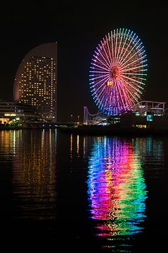 Minato Mirai, Yokohama, Japan, in a Green Phase by Richard Brown, via Beautiful Places To Visit, Wonderful Places, Beautiful World, Nature Pictures, Cool Pictures, Tokyo Winter, Tokyo Skyline, Night Scenery, Yokohama