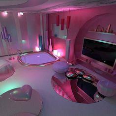 Quarto neon ou marmeid com as cores rosa, roxo e uma luz verde água - Cute Room Ideas, Cute Room Decor, Teen Room Decor, Bedroom Decor, Bedroom Ideas, Awesome Bedrooms, Cool Rooms, Dream Rooms, Dream Bedroom