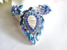 Sarah Coventry Blue Lagoon Rhinestone Brooch & Earring Set Demi Parure Vintage, Signed