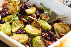 Cherry Roasted Brussels Sprouts - These Cherry Roasted Brussels Sprouts are warm and savory, with just a hint of sweetness.