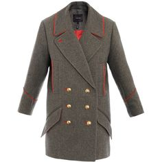 Isabel Marant David Caban Military Coat (£580) ❤ liked on Polyvore featuring outerwear, coats, miley cyrus, tops, military style coat, isabel marant coat, leather-sleeve coats, long sleeve coat and double breasted military coat