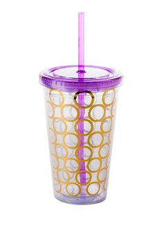 Printed Insulated Travel Cup in Purple Francesca's 601.856.2266 Renaissance at Colony Park Ridgeland, MS @francesca's®