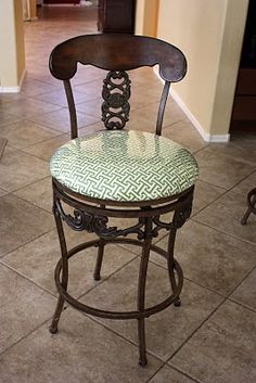 recover bar stools with fabric and clear vinyl She did four for about $15 total.. half hour each time....  Must do this asap!