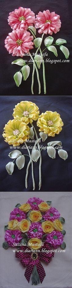 Восхитительная красота вышивки лентами. Хризантемы от Suzana Mustafa.