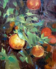 Orange Branches - painting of a orange branches, painting by artist Mary Maxam