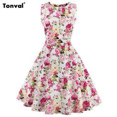 Women Vintage Floral Swing Dress Plus Size Woman Rockabilly Retro Clothing Party Bow 50S Flowers Vestidos Dresses