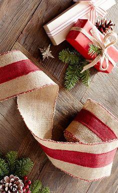 red striped burlap ribbon