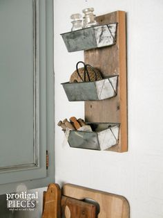 Reclaimed and Repurposed Barn Wood Shelf Cubby from Vintage Cake King Pans ~ Perfect Rustic Farmhouse Chic Decor by Prodigal Pieces on Etsy www.prodigalpieces.com