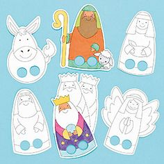 Christmas Nativity Colour-in Finger Puppets Preschool Christmas, Christmas Nativity, Christmas Activities, Christmas Crafts For Kids, Christmas Colors, Kids Christmas, Bible Story Crafts, Happy Birthday Jesus, Nativity Crafts