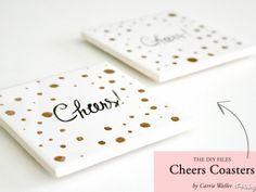 DIY Polka Dot Cheers Coasters Reminds me of Kate spade