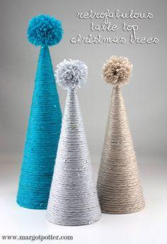 iLoveToCreate Blog: Retrofabulous Yarn Wrapped Tabletop Christmas Trees