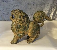 Cast Iron Vintage Chinese Foo Dog Statue . . . Handsome and stunning heavy metal foo dog with classic Chinese detailing!