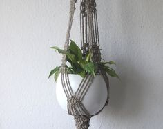 Twine Macrame plant hanger-natural rustic by MadeByMiculinko