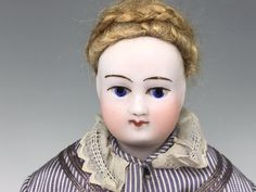 """Antique French 11"""" Bisque Poupee Fashion Doll Painted Eyes, Parlor Maid Costume 