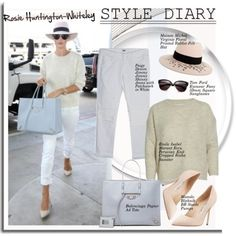 Style diary: Rosie Huntington-Whiteley by hamaly on Polyvore featuring Balenciaga, Paige Denim, Manolo Blahnik, Whiteley, Maison Michel and Tom Ford
