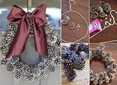 PINE CONE WREATH  I love it!!!  Glue beads to the pine cones and just run the wire thru the beads. Then attach the pine cones to the hanger. ┊  ┊  ☆  ┊  ★ ☆  ☆ Hit Share To Save Or Send ☆  LOVE recipes!! Come FRIEND ME! I am always posting awesome stuff on my timeline! You can find me at https://www.facebook.com/susie.broch  Click and join us here---for more every day fun, tips, recipes, weight loss support & motivation.. and learn about Skinny Fiber! ...