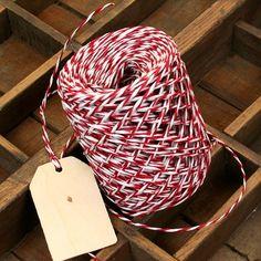 Red & White Twist Paper String - 50 Metres