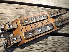 Viking Leather Wrist Cuff  Elder Futhark Rune by BeastmanCaravan