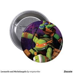 Leonardo and Michelangelo 2 Inch Round Button. Regalos, Gifts. #chapa #button
