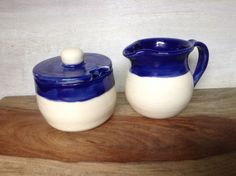 Ceramic Cream & Sugar Set - Handmade Pottery Cream And Sugar Serving Set - Royal Blue And White - Breakfast Serving Set For Coffee Or Tea by Kismet Pottery on Gourmly