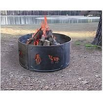 Big Sky Cast Iron Fire Ring Wildlife, Black