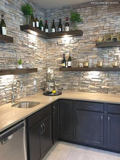 Beautiful wet bar with floating shelves and stone! in kitchen diy Best of the 2017 Parade of Homes - Day 2 – Welsh Design Studio Kitchen Room Design, Home Decor Kitchen, Interior Design Kitchen, Studio Kitchen, Kitchen Ideas, Basement Bar Designs, Home Bar Designs, Wet Bar Basement, Basement Ideas