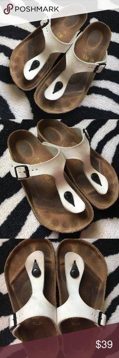 Authentic Birkenstock Gizeh Sandals Authentic Birkenstock Gizeh sandals. In preloved condition with signs of wear. Bottom soles in excellent condition; lots of wear left! Size 36/L5 (regular width). Birkenstock Shoes Sandals