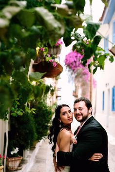 Starting their new life together by walking at the small streets of romantic Nafplio, Greece.  Destination wedding planned by Style Concept, Photography by Yiannis Sotiropoulos