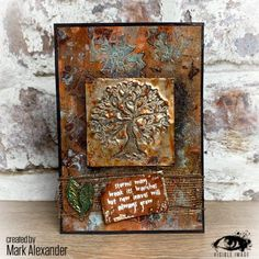 Awesome mixed media project by Mark Alexander featuring our 'Tree of Life' stamps with our 'Count Me In' stencil and lots of texture! Mark Alexander, Image Stamp, Small Leaf, Growing Tree, New Leaf, Tree Of Life, Mother Earth, Mixed Media Art, Stencils