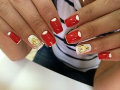 Glamorous red nail art with gold crowns :: one1lady.com :: #nail #nails #nailart #manicure